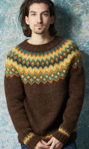 мужской свитер с круглой жаккардовой кокеткой