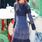Длинное вязаное платье с ажуром из ромбов