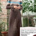Длинное ажурное платье из мохера спицами