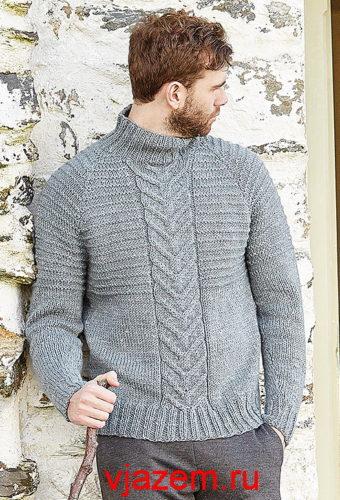 мужской свитер с воротником спицами