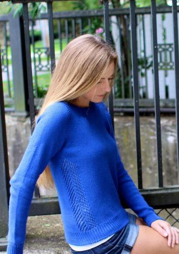 женский пуловер реглан сверху спицами
