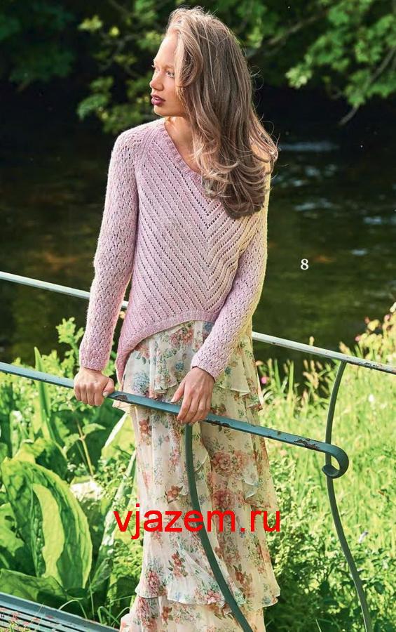 Пуловер с фигурным нижним краем