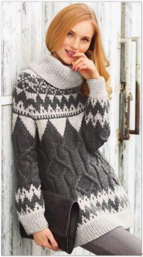 удлиненный свитер с жаккардовым узором спицами