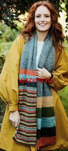 шарф в полоску спицами