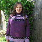свитер с круглой жаккардовой кокеткой