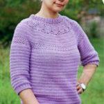 Вязаные пуловеры крючком с ажурной кокеткой