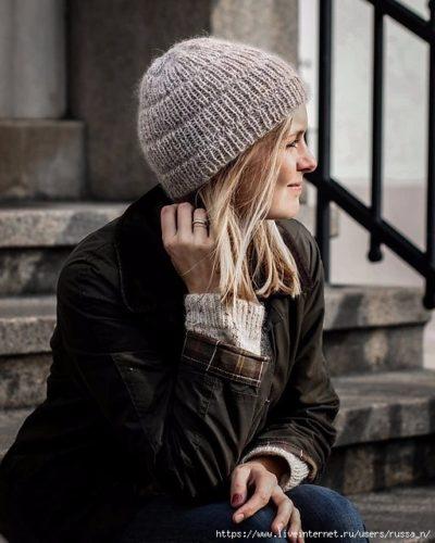 шапка резинкой 1 на 1 спицами № 4