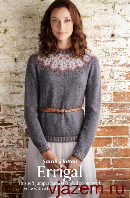пуловер с жаккардовой кокеткой спицами