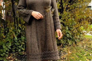 теплое платье регланом сверху спицами